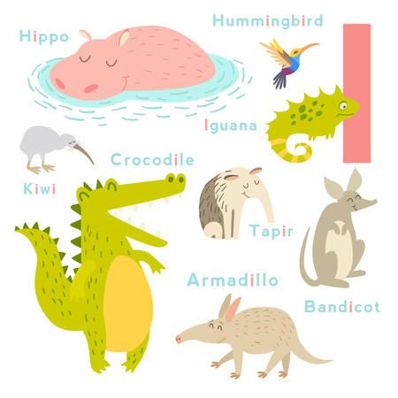 I letter animals set. English alphabet. Vector illustration, isolated on white background