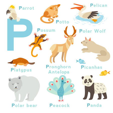 P letter animals set. English alphabet. Vector illustration, isolated on white background