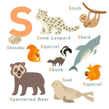 spectacled: S letter animals set. English alphabet. Vector illustration, isolated on white background