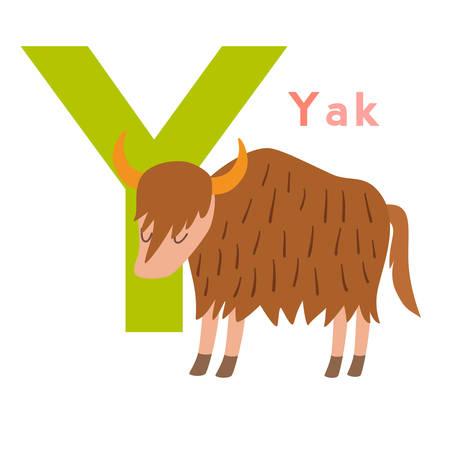 ilustration: Y letter animals set. English alphabet. Vector illustration, isolated on white background