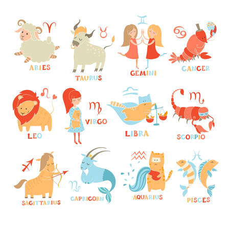 Funny zodiac set. Hand drawn. Colored vector illustration isolated on white background.
