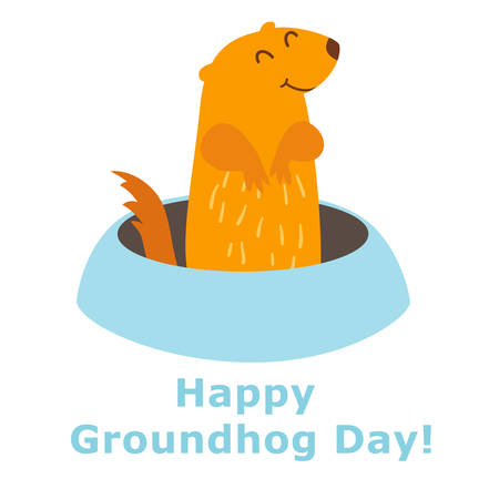 Happy Groundhog Day. Vector illustration isolated on white background. Groundhog peeking out of a hole in the ground