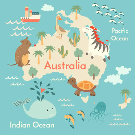 Animals world map, Australia. Vector illustration, preschool, baby, continents, oceans, drawn, Earth.