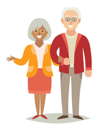 International family. Pensioner happy family. Old european man and old african-american woman couple. Cartoon characters happy pensioner family. Flat style vector illustration isolated on white background