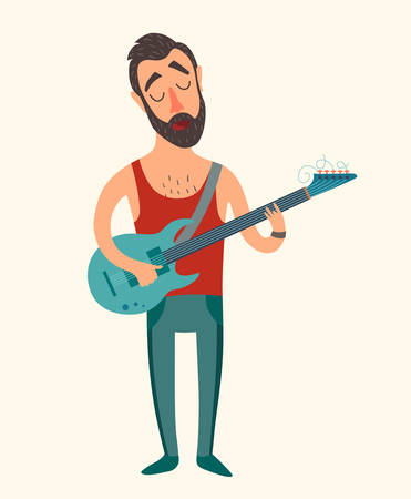 Singer with a beard and mustache playing electric guitar, vector illustration  on white background Illustration