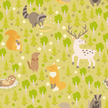 gopher: Eurasian animals seamless pattern. Forest abstract map with animals: deer, raccoon, otter, squirrel, fox, squirrel, gopher on colored green background. Illustration