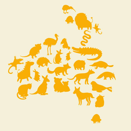 dog shark: Australian animals silhouettes set. Vector illustration. The contour of the continent of Africa