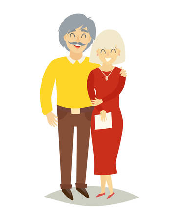 asian happy family: Asian happy family. Old asian man and old asian woman in love. Cartoon characters family pensioners. Flat style vector illustration isolated on white background