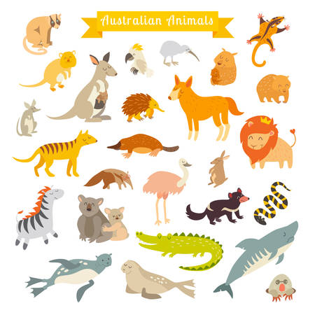 Animals world map, Australia. Vector illustration, preschool, baby, continents, oceans, drawn, Earth