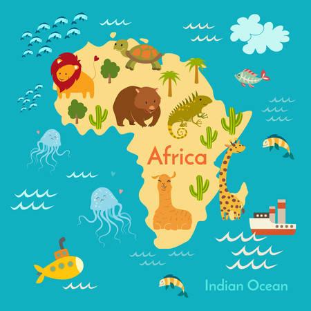Animales mapa del mundo, África. ilustración vectorial, preescolar, bebé, continentes, océanos, dibuja, la Tierra.