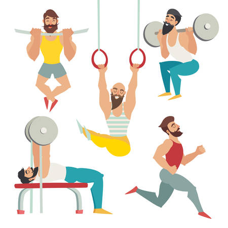 Sports people in the gym. Gymnastics rings, bench press, running, squats, tightened on the panel. Set of muscular, bearded mans illustration, Isolated vector on white background
