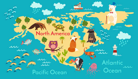Animals world map north america vector illustration preschool animals world map north america vector illustration preschool baby continents gumiabroncs Images
