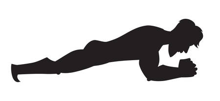 Silhouette vector illustration. Plank exercise. Cartoon style athlete. Isolated vector on white background Illustration