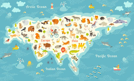 mink: The most detailed animals world map, Eurasia. Also, birds, ocean life, reptiles, and mammals. Beautiful cheerful colorful vector illustration. With the inscription of the oceans and continents Illustration