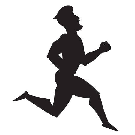 Silhouette vector illustration. Running. Cartoon style athlete.  Isolated vector on white background