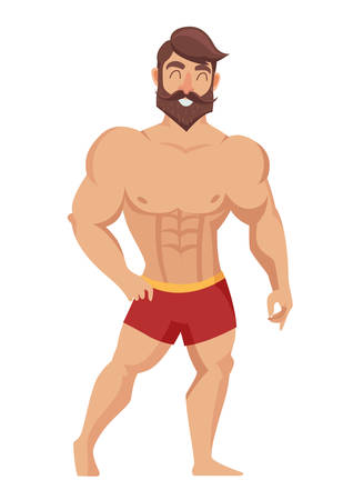 Sexy muscular, bearded man in red shorts, posing bodybuilding. Isolated vector illustration on white background