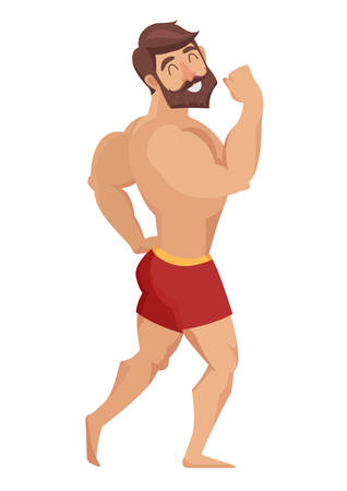 sexy man: Sexy muscular, bearded man in red shorts, posing bodybuilding. Isolated vector illustration on white background