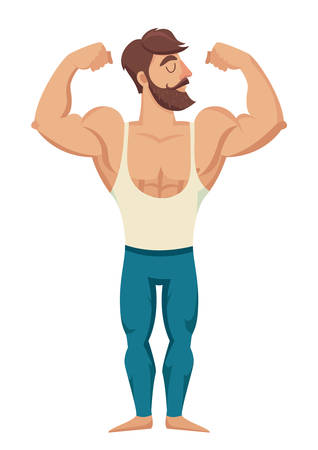 sexy man: The man with the muscles. Sexy bearded, muscular jock in jeans. Posing bodybuilding. Isolated vector illustration on white background Illustration