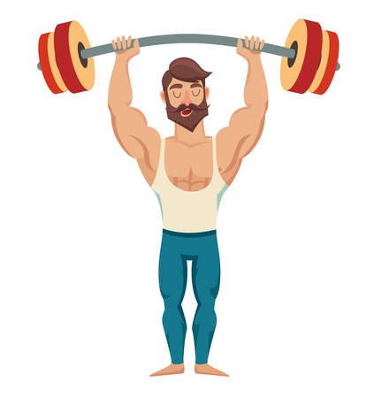 A man with a barbell over his head. Sexy bearded, muscular jock in jeans. bodybuilding pose. Isolated vector illustration on white background