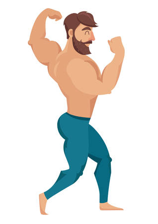 The man with the muscles. Sexy bearded, muscular jock in jeans. Posing bodybuilding. Isolated vector illustration on white background Illustration
