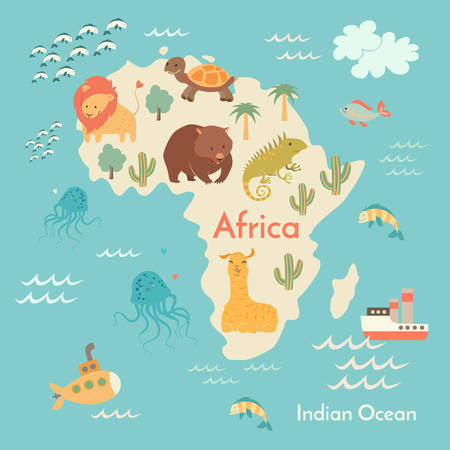 Animals world map, Africa. Vector illustration, preschool, baby, continents, oceans, drawn, Earth.