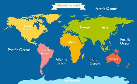 Wereldkaart. Vector illustratie met de inscriptie van de oceanen en continenten. Continenten verschillende kleuren.