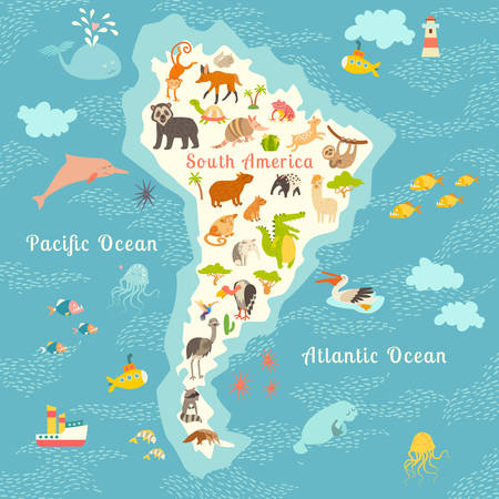 Animals world map, Sorth America. Vector illustration, preschool, baby, continents, oceans, drawn, education, Earth