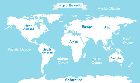 World map. Vector illustration with the inscription of the oceans and continents. Soft blue color.