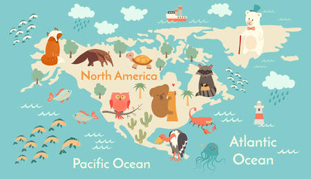 Animals world map, North America. Vector illustration, preschool, baby, continents, oceans, drawn, Earth.