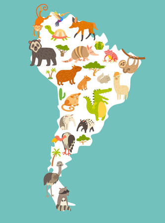 Animals world map, Sourth America. Colorful cartoon vector illustration for children and kids. Preschool, education, baby, continents, oceans, drawn, Earth. Illustration