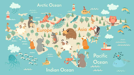 Animals world map, Eurasia. Vector illustration, preschool, baby, continents, oceans, drawn, Earth.