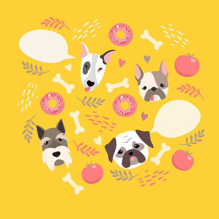 Cute dog illustration color card with cloud place for your text Illustration