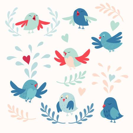 Lindo pájaros conjunto de tarjetas vectoriales Ilustración de vector