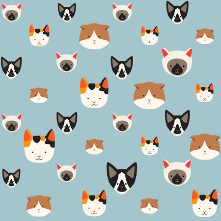 Cute cats vector pattern, illustrations on colored background.