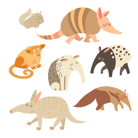 Battleship, anteater, chinchilla, tapir, anteater, kinkajou animals on white background. Vector illustration, isolated on white background Illustration