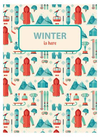 Wintersport, patroon card breken uw tekst.