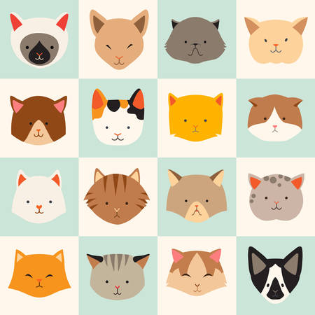 game graphics: Set of cute cats icons, vector flat illustrations. Cat breeds, pattern, card, game graphics. Illustration