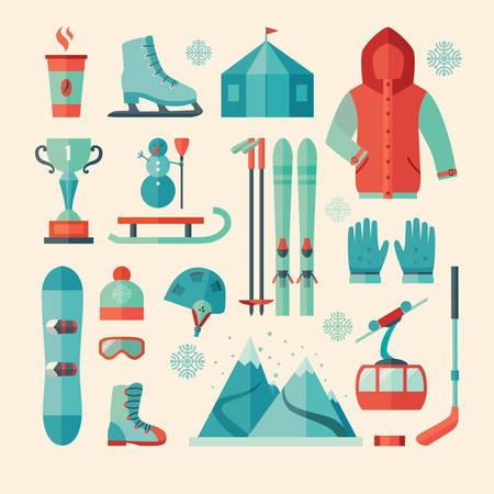 Set van wintersport icoon. Bergbeklimmen.