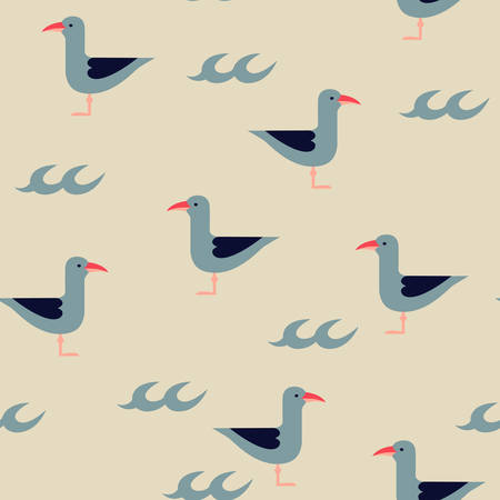 drawing paper: Vector seagulls and waves marine seamless pattern, illustration