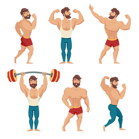 Set of muscular, bearded mans vector illustration. Fitness models, posing, bodybuilding. Isolated on white background Çizim