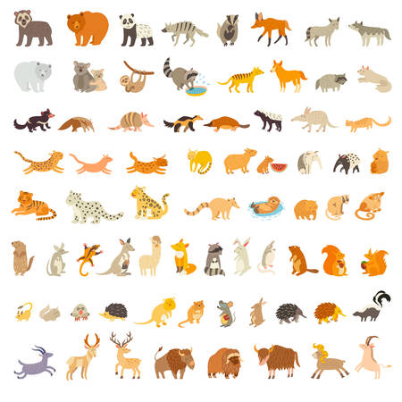 Mammals of the world. Extra big animals set. Vector illustration, isolated on a white background