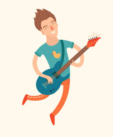 Man in a jump, playing electric guitar, vector illustration  on white background