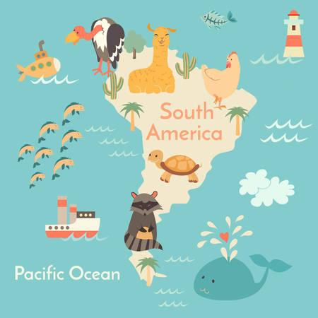 Animals world map, Sorth America. Vector illustration, preschool, baby, continents, oceans, drawn, Earth.