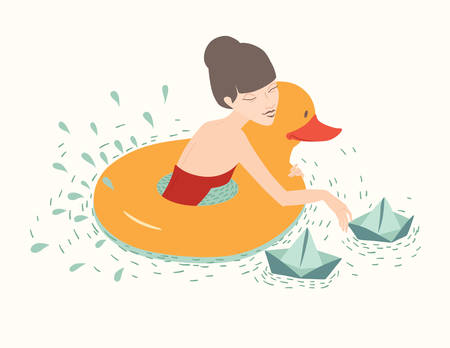 enfant maillot de bain: Fille au canard, bouée de sauvetage flottante, bateaux en papier sur l'eau sur fond beige clair. Illustration vectorielle, carte de jour de valentines