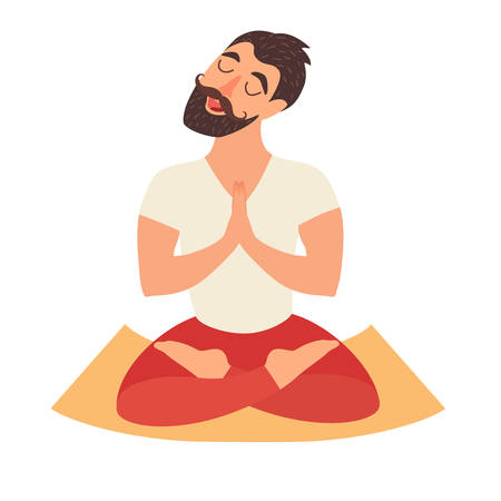 joga: Mustached bearded man in the lotus position on the mat for yoga. Isolated illustration on the white background. The design concept of yoga, relax, happiness, meditation Illustration