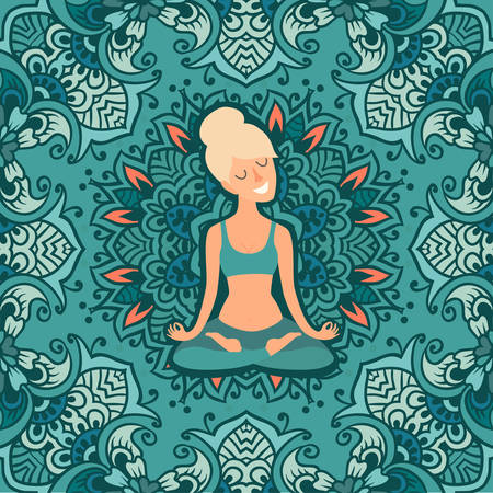 Beautiful girl in the lotus position on the mat for yoga. Vector colored illustration on the mandala background. The design concept of yoga, relax, happiness, meditation, indian Illustration