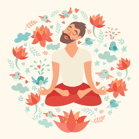joga: Mustached bearded man in the lotus position on the circle background with lotus, bird, cloud, heart, leaf on ivory color. The design concept of yoga, fitness, relax, happiness, meditation