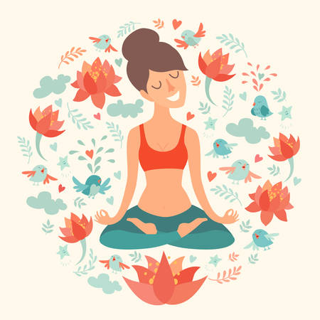 Beautiful girl in the lotus position on the circle background with lotus, bird, cloud. heart, leaf on ivory color. The design concept of yoga, fitness, relax, happiness, meditation