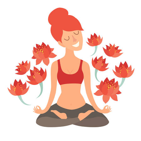 Beautiful girl in the lotus position with lotus flower. Isolated illustration on the white background The design concept of yoga, fitness, relax, happiness, meditation Illustration