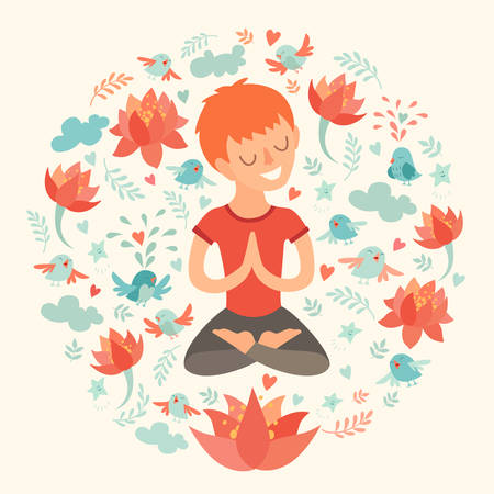 joga: Little boy in the lotus position with lotus flower. Isolated illustration on the white background. The design concept of yoga, fitness, relax, happiness, meditation